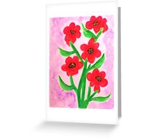 Red flowers for Valentines for my Lover, watercolor Greeting Card