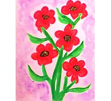 Red flowers for Valentines for my Lover, watercolor Photographic Print
