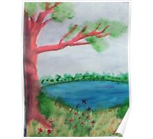 Big Tree beside  Pond,with Flowers , Watercolor Poster