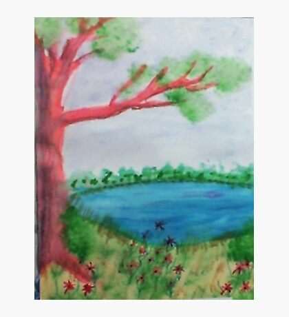 Big Tree beside  Pond,with Flowers , Watercolor Photographic Print