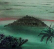 Island Poking Out of Ocean with Palm Tree  close by, watercolor by Anna  Lewis