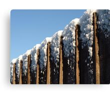 Snow topped fence Canvas Print