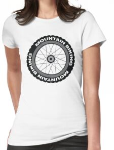 Mountain Bike Wheel Womens Fitted T-Shirt