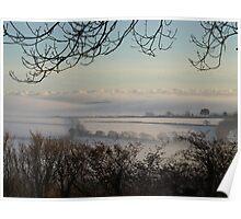 Foggy Fields - South Hams, Devon Poster
