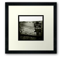 Private - No Footpath Framed Print
