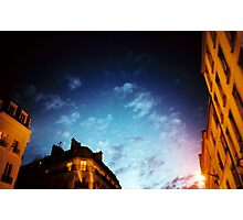 Sky from Paris, Orange and Blue night Photographic Print