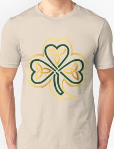 Celtic Shamrock In Green and Gold  T-Shirt