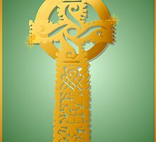 Gold Celtic Cross Poster by Lotacats