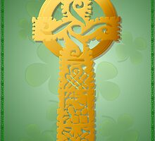 Gold Celtic Cross Poster 2 by Lotacats