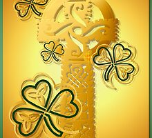 Gold Celtic Cross N Shamrocks Poster by Lotacats