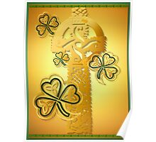 Gold Celtic Cross N Shamrocks Poster Poster