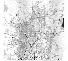 Kyoto Map Gray Poster