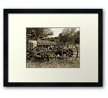 Antique Tractor In Sepia Framed Print