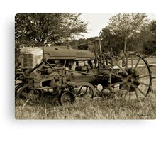 Antique Tractor In Sepia Canvas Print