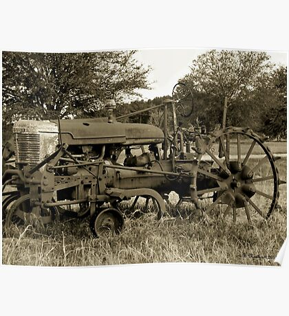 Antique Tractor In Sepia Poster