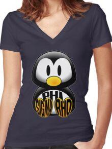 Phi Sigma Rho Penguin Women's Fitted V-Neck T-Shirt