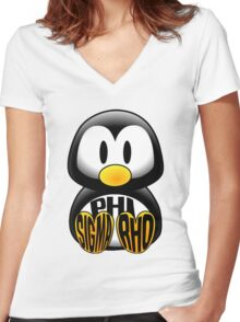 Phi Sigma Rho Penguin Women's Fitted V-Neck T-Shirt