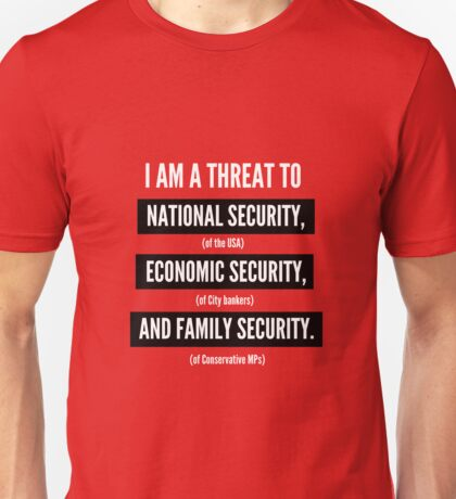 "Jeremy Corbyn ""A Serious Threat"" t-shirt (Red) Unisex T-Shirt"