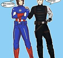 Steve/Bucky costume switch-up by TEAMJUSTICEink