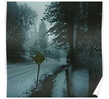 through the snowy road. Poster