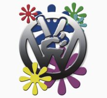 VW Peace hand sign with flowers by Tony  Bazidlo