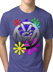VW Peace hand sign with flowers Tri-blend T-Shirt