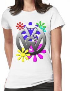VW Peace hand sign with flowers Womens Fitted T-Shirt