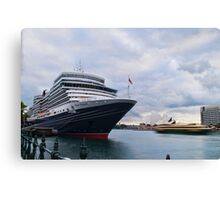The scale of her - Queen Elizabeth, Circular Quay Canvas Print