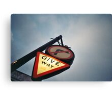 Tourist - London - Give Way, sign over night falling sky Canvas Print