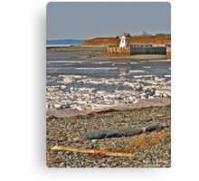 Belliveau Cove Lighthouse in Winter Canvas Print