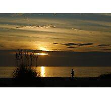 Evening beach walker Photographic Print