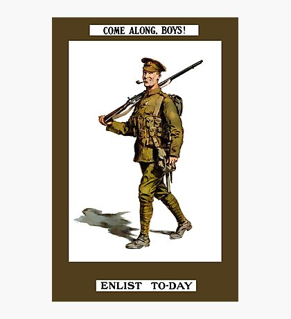 Come Along, Boys! Enlist To-Day Photographic Print