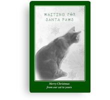 Christmas Pet Greeting Card - Waiting For Santa Paws Canvas Print