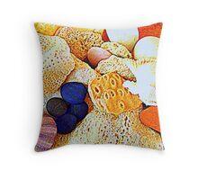 Seashells and rocks Throw Pillow