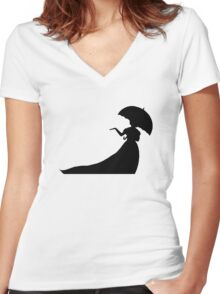 Silhouette of a Lady Women's Fitted V-Neck T-Shirt