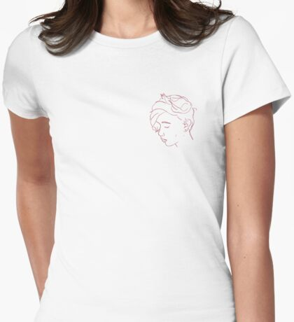 Linework Face Womens Fitted T-Shirt