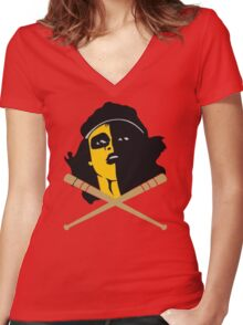 Baseball Furies Skull & Crossbones Women's Fitted V-Neck T-Shirt
