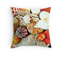 Sea urchin and sea shells Throw Pillow