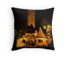 Rothenburg West Gate at Night Throw Pillow