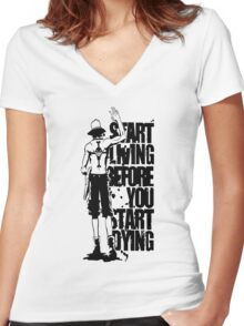 One Piece Start Living Before You Start Dying Portgas D. Ace Anime Cosplay Japan T Shirt Women's Fitted V-Neck T-Shirt