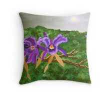 Purple Orchids By Moonlight Throw Pillow