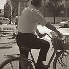 Tokyo Man on Bike - Black and White by Emily Mogic