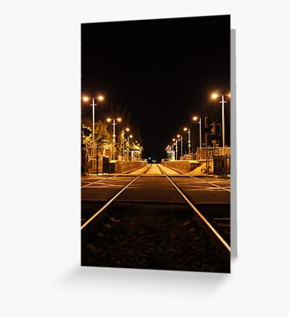 Railway Line at night Greeting Card