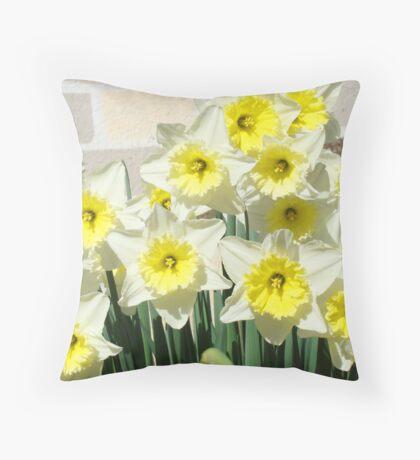 Spring Floral Daffodils Garden Yellow art Baslee Troutman Throw Pillow