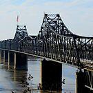 Cantilevered Truss Train Bridge between Vicksburg, MS and LA by Debbie Robbins