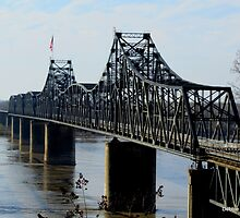 Cantilevered Truss Train Bridge between Vicksburg, MS and LA by Debbie Robbins