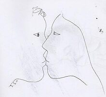 the kiss -(030311)- black biro pen/A4 sketchbook by paulramnora
