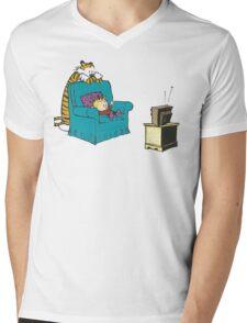 calvin and hobbes wacthing tv Mens V-Neck T-Shirt