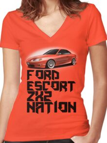 Ford Escort ZX2 NATION (Black text)  Women's Fitted V-Neck T-Shirt