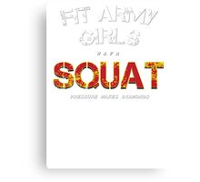 Fit Army Girls Squat Gray/White/Red Canvas Print